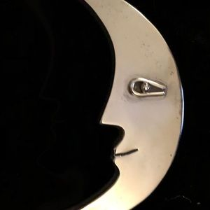 Vintage Sterling Silver crescent moon face pin